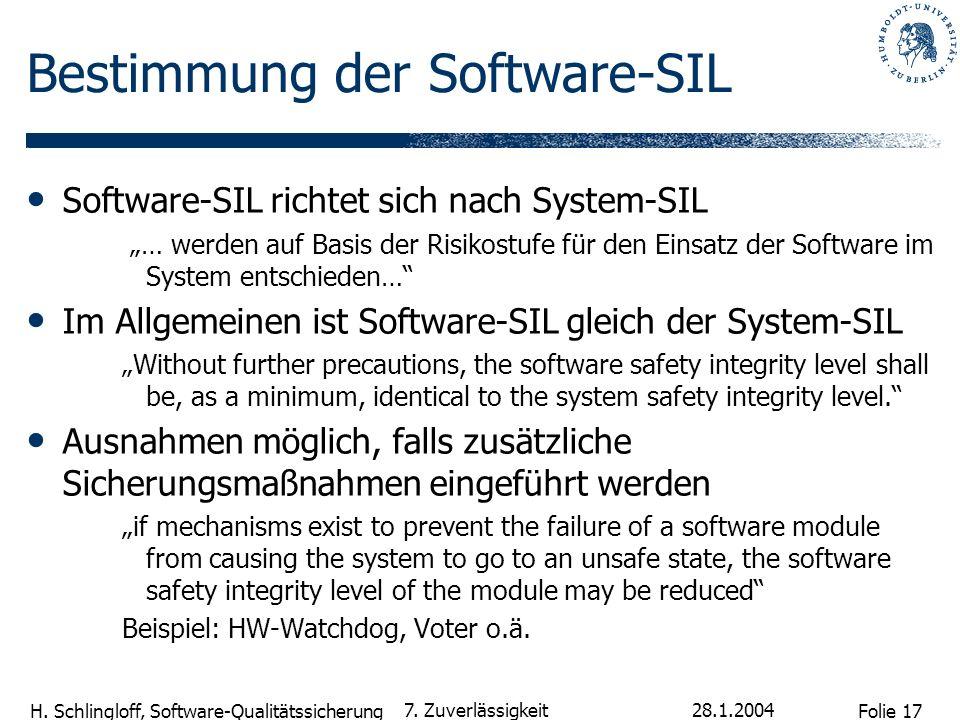 Folie 17 H. Schlingloff, Software-Qualitätssicherung 28.1.2004 7. Zuverlässigkeit Bestimmung der Software-SIL Software-SIL richtet sich nach System-SI