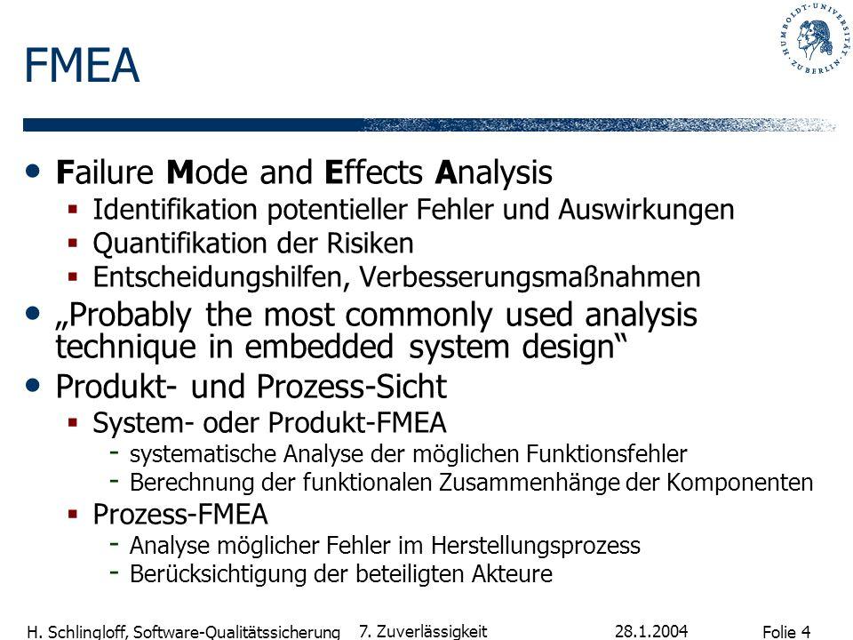 Folie 4 H. Schlingloff, Software-Qualitätssicherung 28.1.2004 7. Zuverlässigkeit FMEA Failure Mode and Effects Analysis Identifikation potentieller Fe
