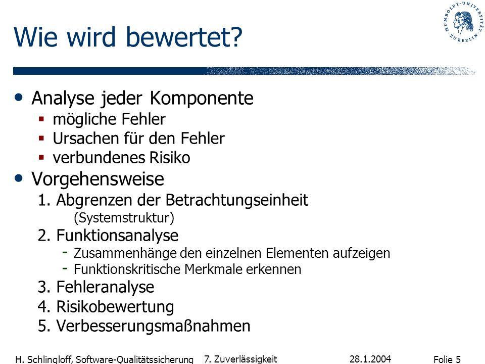 Folie 5 H. Schlingloff, Software-Qualitätssicherung 28.1.2004 7. Zuverlässigkeit Wie wird bewertet? Analyse jeder Komponente mögliche Fehler Ursachen