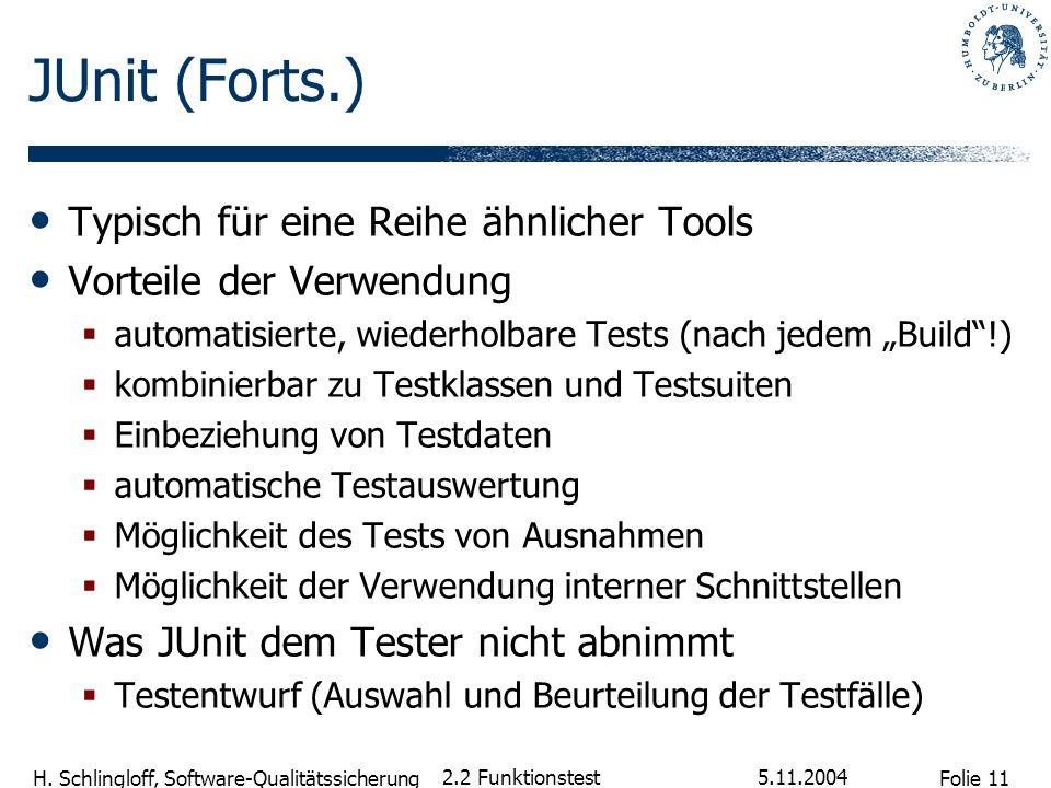 Folie 11 H. Schlingloff, Software-Qualitätssicherung 5.11.2004 2.2 Funktionstest JUnit (Forts.) Typisch für eine Reihe ähnlicher Tools Vorteile der Ve