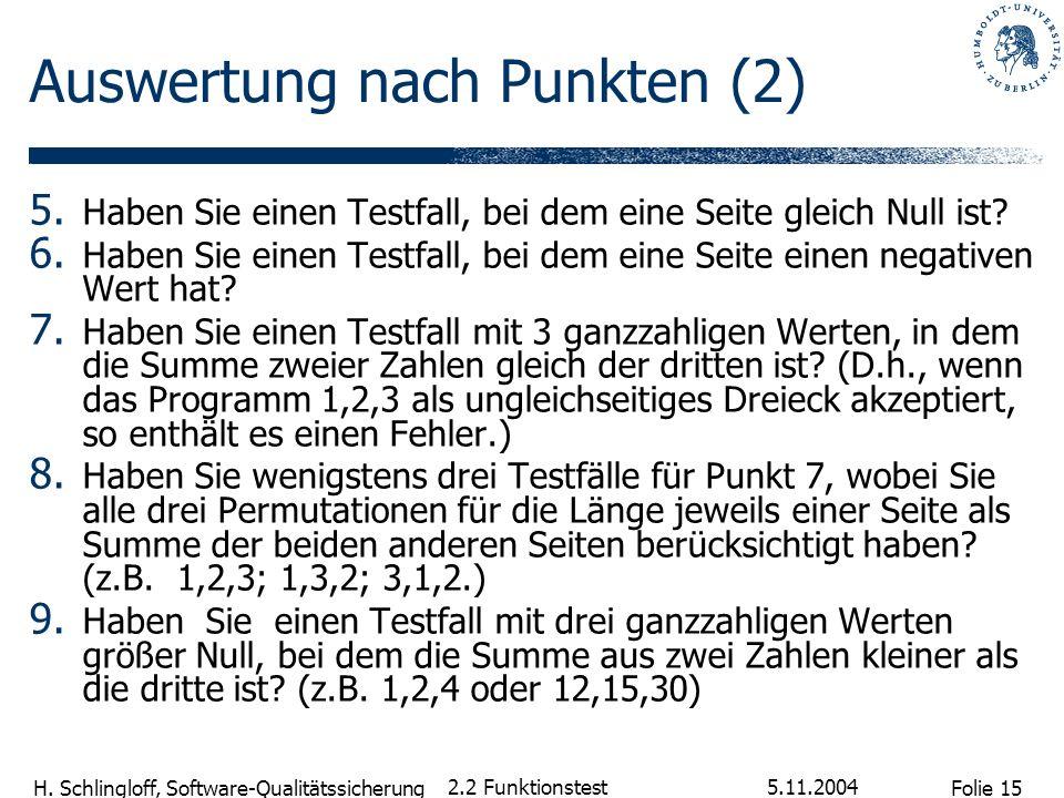 Folie 15 H. Schlingloff, Software-Qualitätssicherung 5.11.2004 2.2 Funktionstest Auswertung nach Punkten (2) 5. Haben Sie einen Testfall, bei dem eine