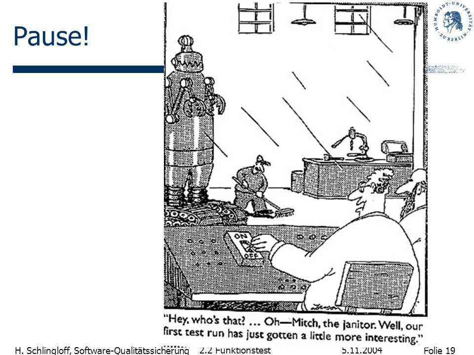 Folie 19 H. Schlingloff, Software-Qualitätssicherung 5.11.2004 2.2 Funktionstest Pause!