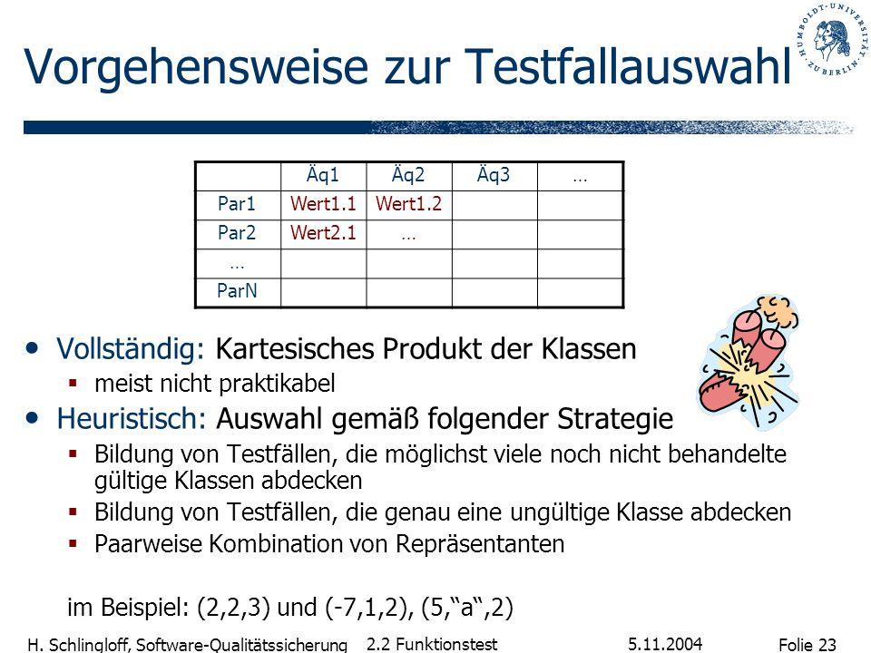 Folie 23 H. Schlingloff, Software-Qualitätssicherung 5.11.2004 2.2 Funktionstest Vorgehensweise zur Testfallauswahl Vollständig: Kartesisches Produkt