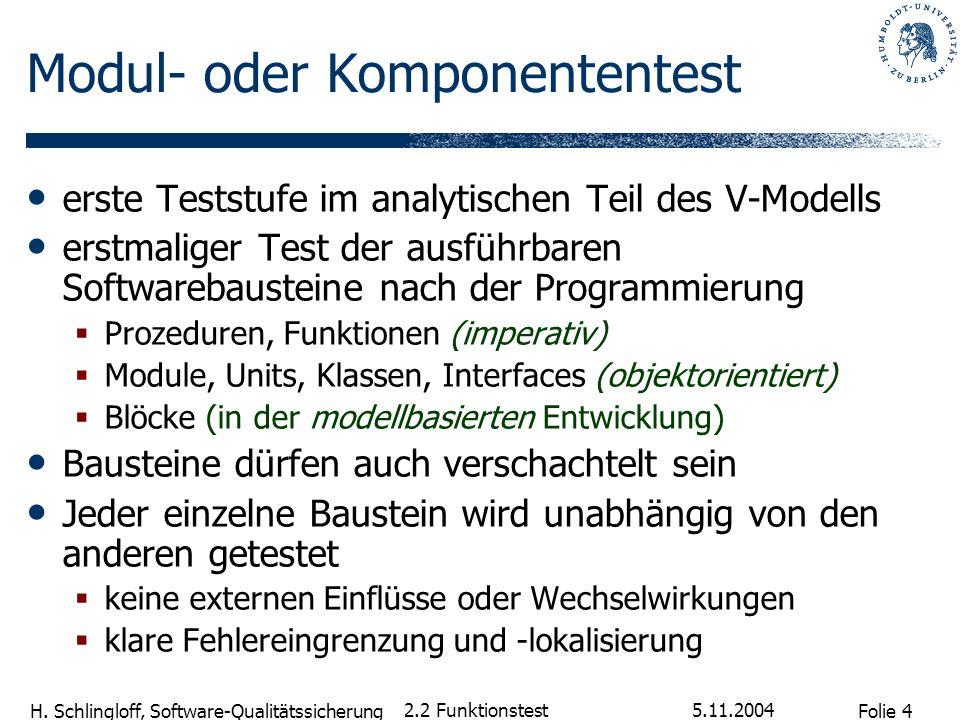 Folie 4 H. Schlingloff, Software-Qualitätssicherung 5.11.2004 2.2 Funktionstest Modul- oder Komponententest erste Teststufe im analytischen Teil des V