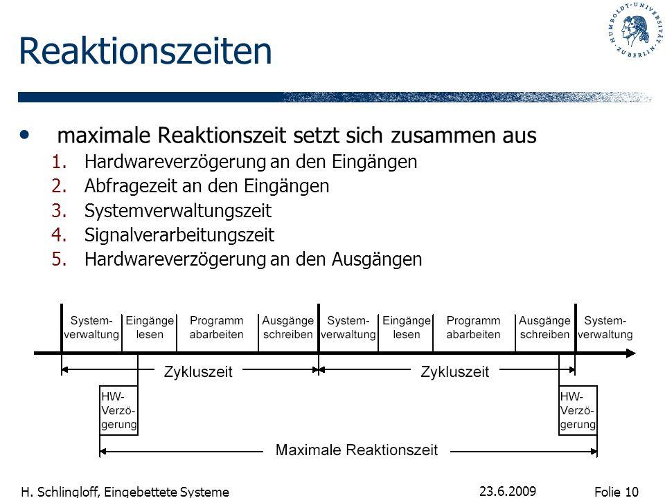Folie 10 H. Schlingloff, Eingebettete Systeme 23.6.2009 Reaktionszeiten maximale Reaktionszeit setzt sich zusammen aus 1.Hardwareverzögerung an den Ei