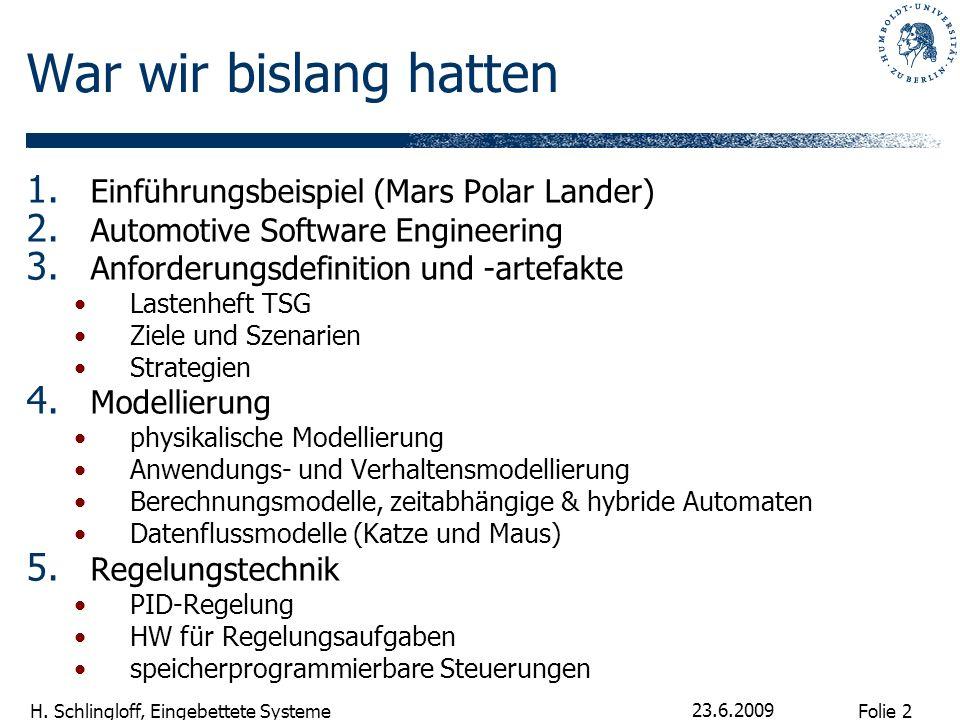 Folie 2 H. Schlingloff, Eingebettete Systeme 23.6.2009 War wir bislang hatten 1. Einführungsbeispiel (Mars Polar Lander) 2. Automotive Software Engine