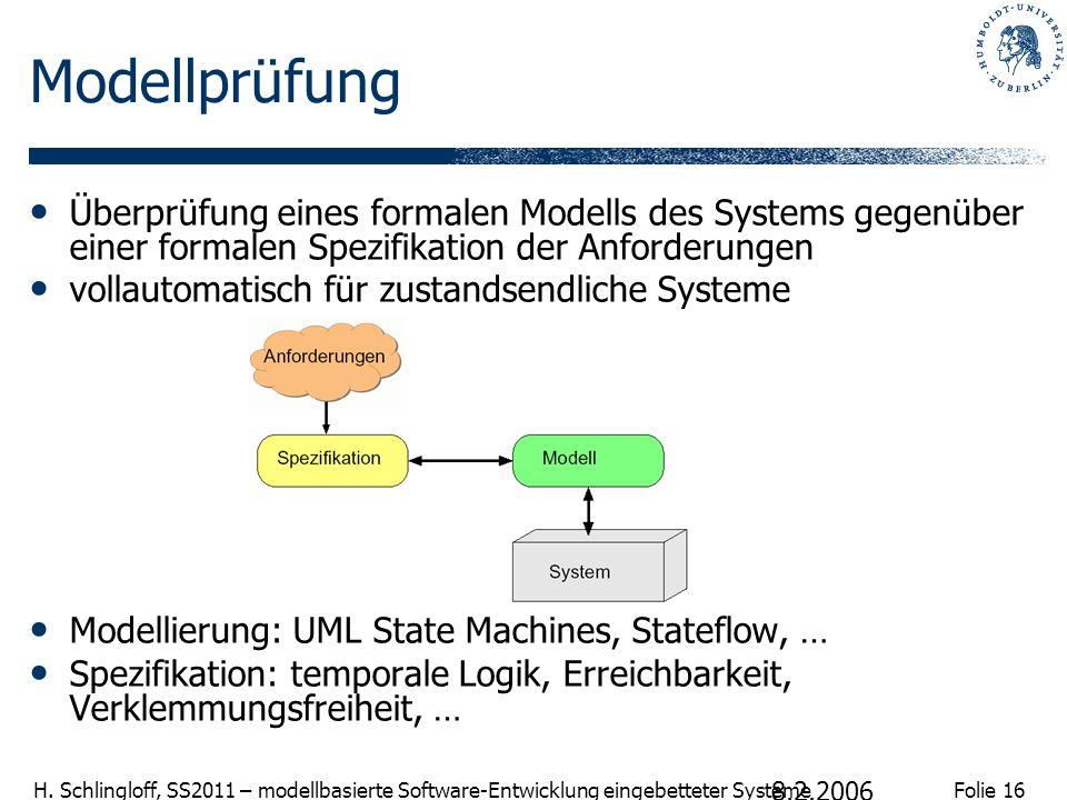 Folie 16 H. Schlingloff, SS2011 – modellbasierte Software-Entwicklung eingebetteter Systeme 8.2.2006 Modellprüfung Überprüfung eines formalen Modells