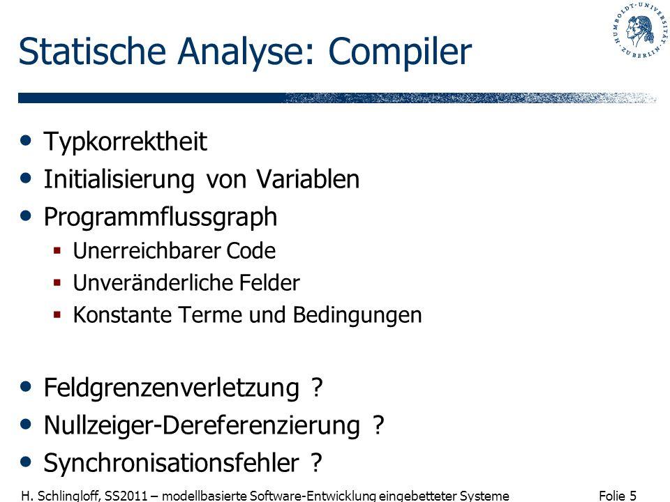 Folie 5 H. Schlingloff, SS2011 – modellbasierte Software-Entwicklung eingebetteter Systeme Statische Analyse: Compiler Typkorrektheit Initialisierung