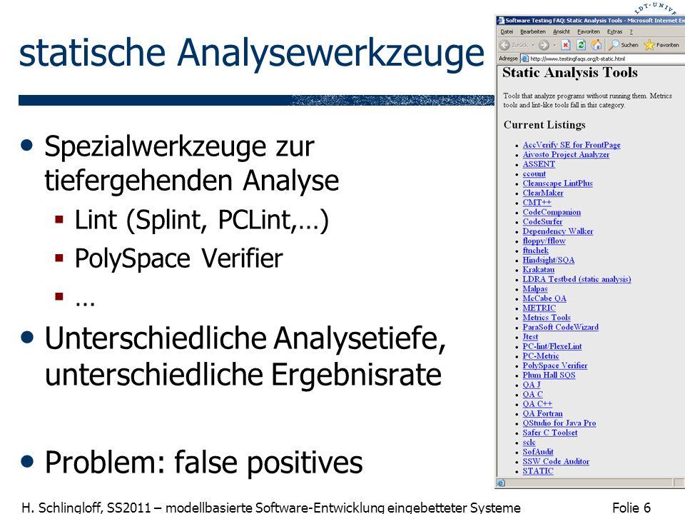 Folie 6 H. Schlingloff, SS2011 – modellbasierte Software-Entwicklung eingebetteter Systeme statische Analysewerkzeuge Spezialwerkzeuge zur tiefergehen
