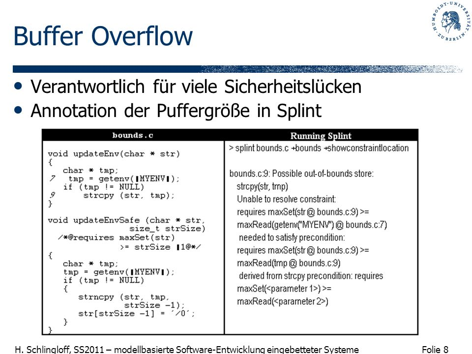 Folie 8 H. Schlingloff, SS2011 – modellbasierte Software-Entwicklung eingebetteter Systeme Buffer Overflow Verantwortlich für viele Sicherheitslücken