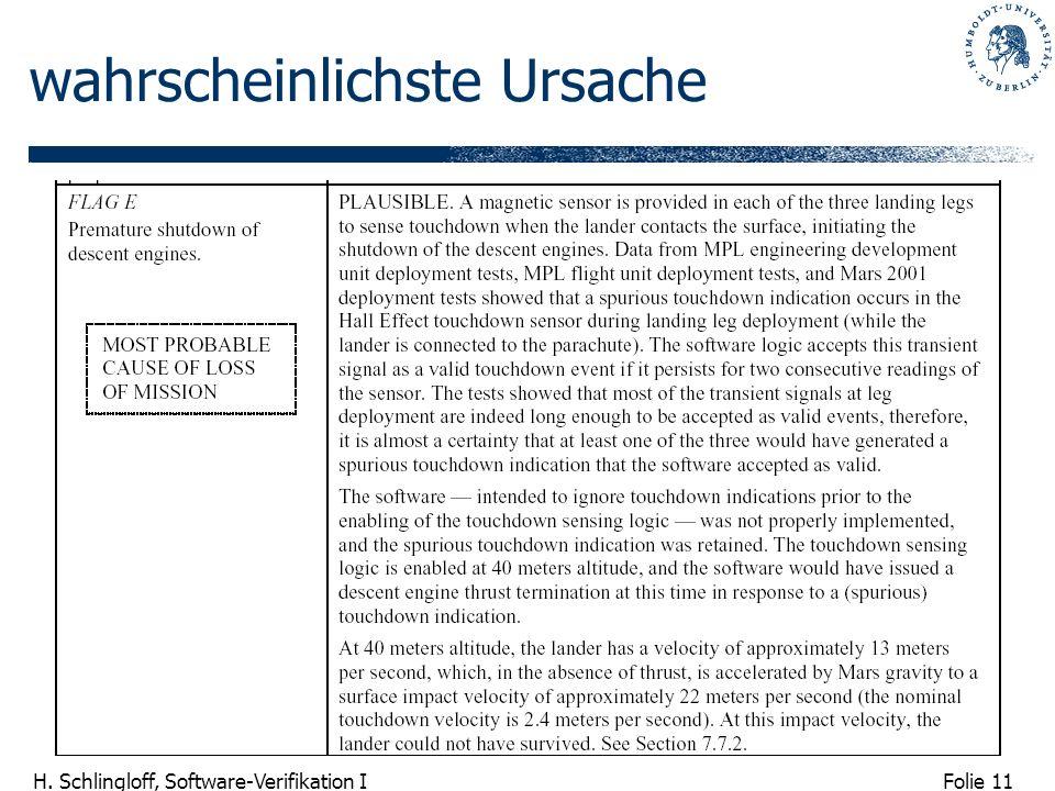 Folie 11 H. Schlingloff, Software-Verifikation I wahrscheinlichste Ursache