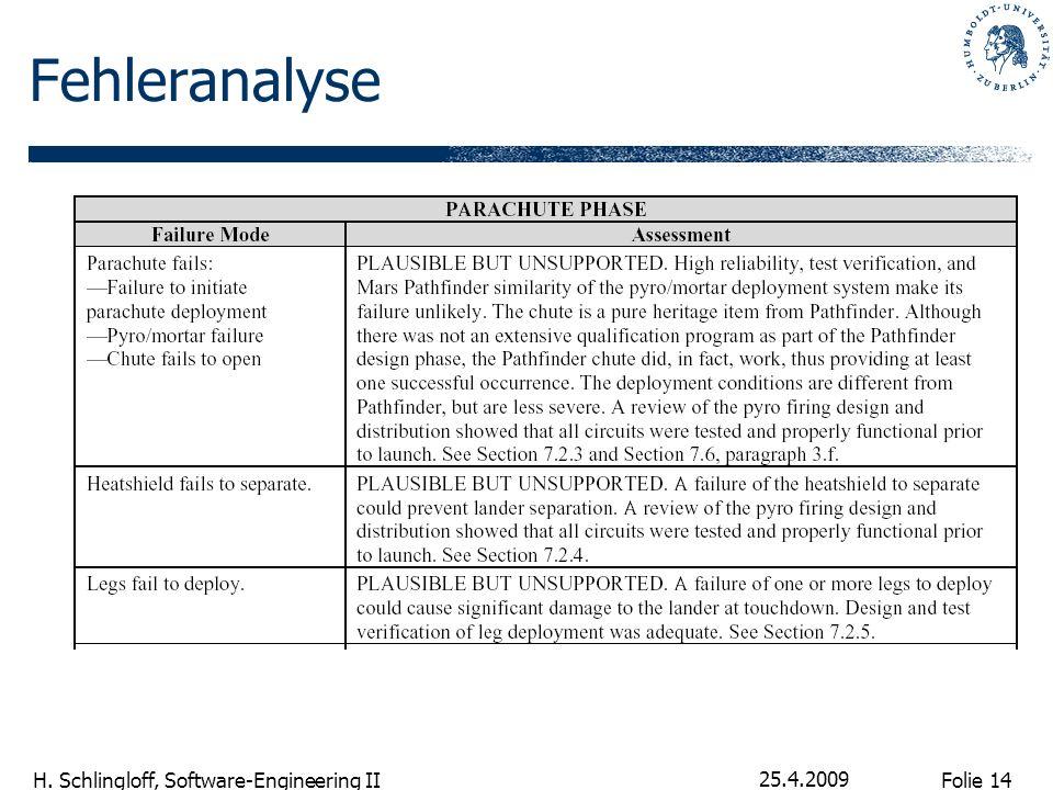 Folie 14 H. Schlingloff, Software-Engineering II 25.4.2009 Fehleranalyse