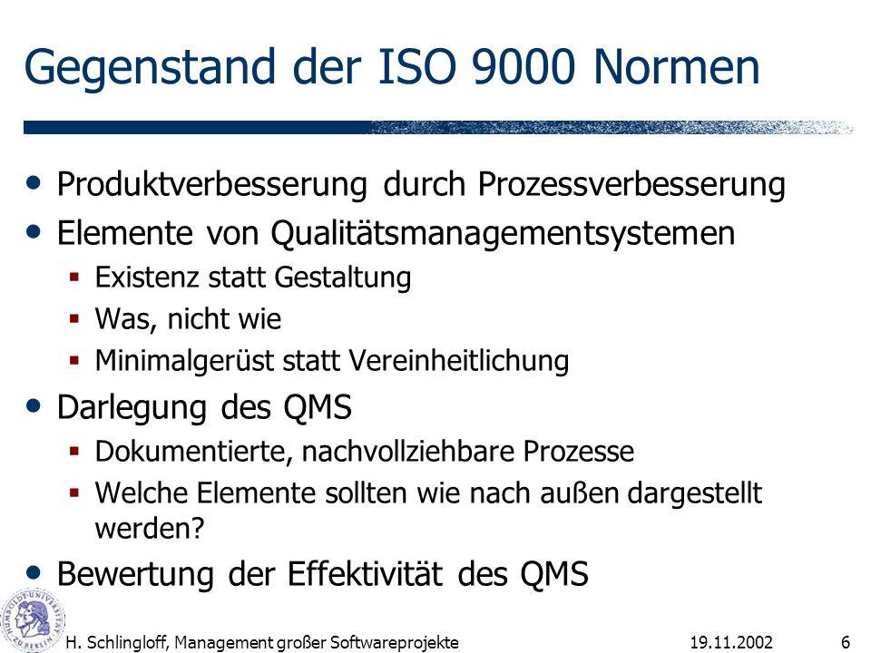 19.11.2002H. Schlingloff, Management großer Softwareprojekte6 Gegenstand der ISO 9000 Normen Produktverbesserung durch Prozessverbesserung Elemente vo