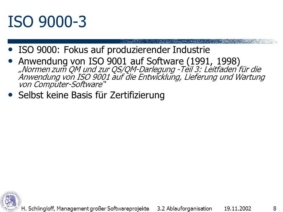 19.11.2002H. Schlingloff, Management großer Softwareprojekte8 ISO 9000-3 ISO 9000: Fokus auf produzierender Industrie Anwendung von ISO 9001 auf Softw