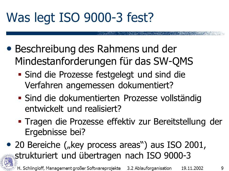 19.11.2002H.Schlingloff, Management großer Softwareprojekte10 Aufbau von ISO 9000-3 1.