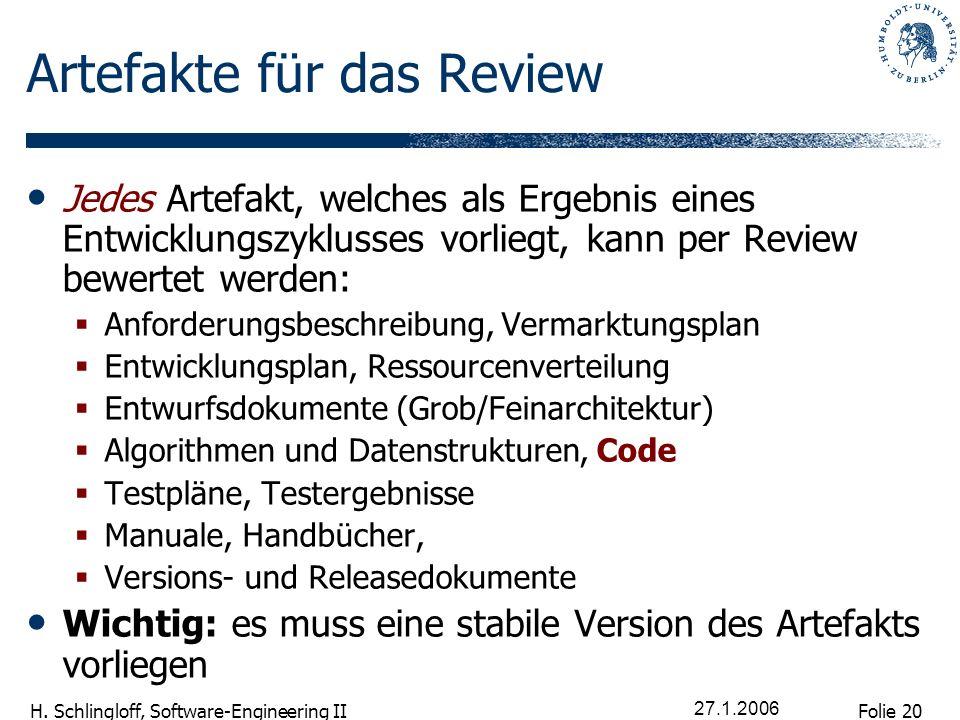 Folie 20 H. Schlingloff, Software-Engineering II 27.1.2006 Artefakte für das Review Jedes Artefakt, welches als Ergebnis eines Entwicklungszyklusses v