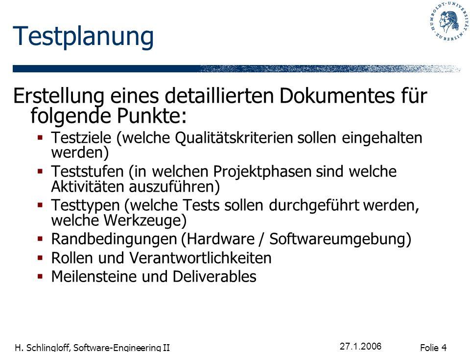Folie 4 H. Schlingloff, Software-Engineering II 27.1.2006 Testplanung Erstellung eines detaillierten Dokumentes für folgende Punkte: Testziele (welche