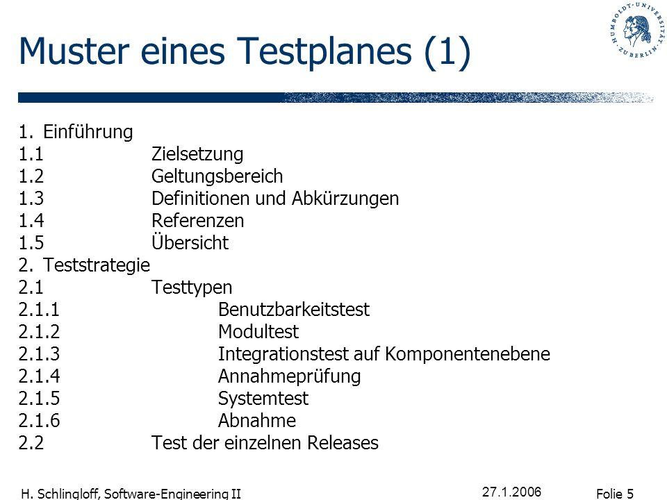 Folie 5 H. Schlingloff, Software-Engineering II 27.1.2006 Muster eines Testplanes (1) 1.Einführung 1.1Zielsetzung 1.2Geltungsbereich 1.3Definitionen u