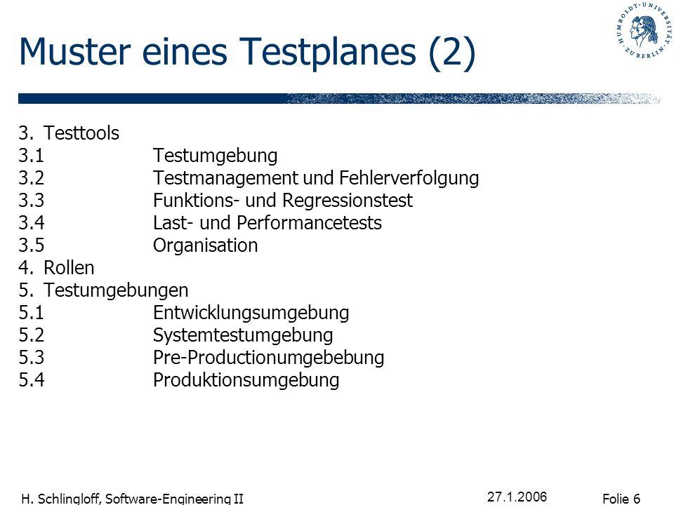 Folie 6 H. Schlingloff, Software-Engineering II 27.1.2006 Muster eines Testplanes (2) 3.Testtools 3.1Testumgebung 3.2Testmanagement und Fehlerverfolgu
