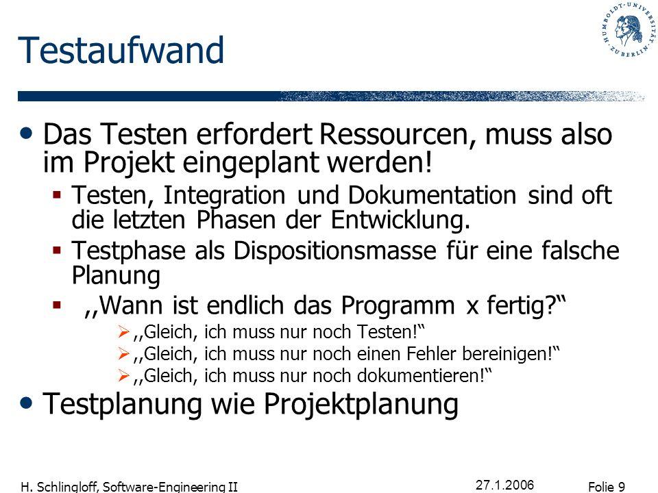 Folie 9 H. Schlingloff, Software-Engineering II 27.1.2006 Testaufwand Das Testen erfordert Ressourcen, muss also im Projekt eingeplant werden! Testen,