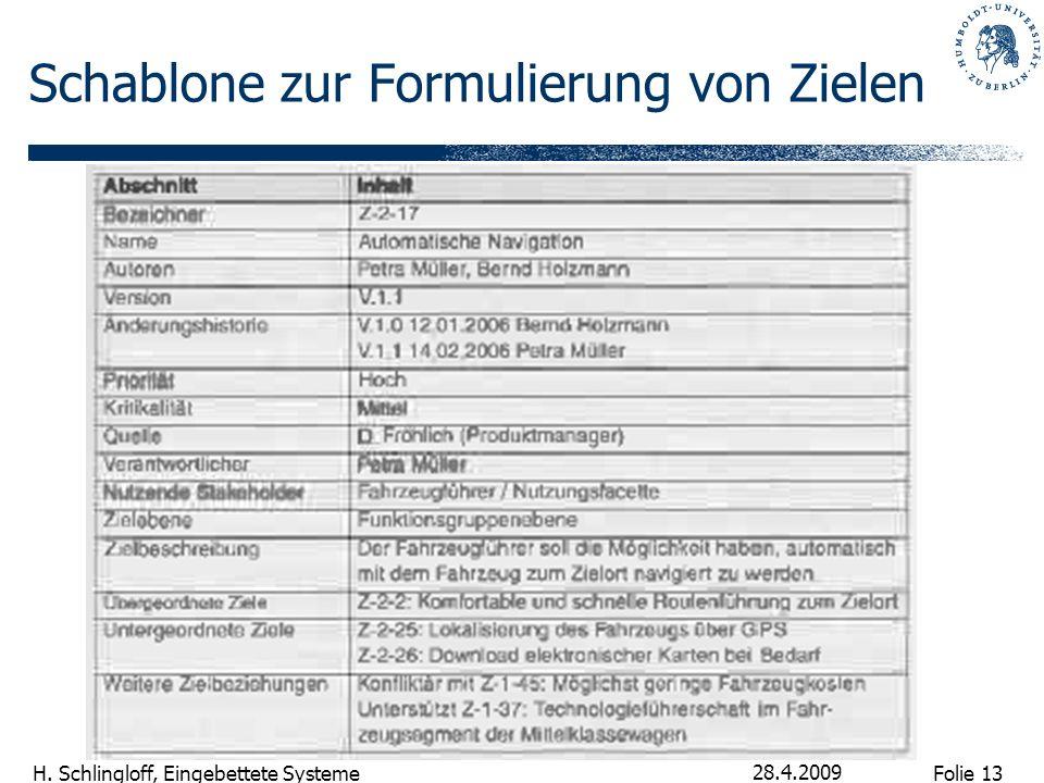 Folie 13 H. Schlingloff, Eingebettete Systeme 28.4.2009 Schablone zur Formulierung von Zielen