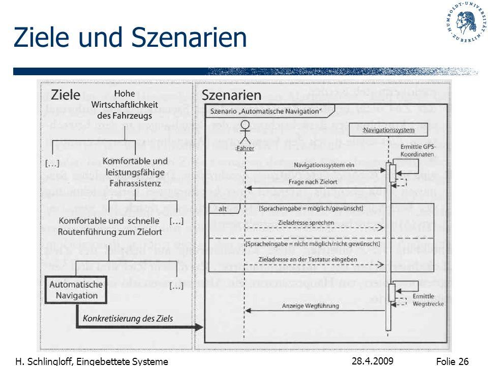 Folie 26 H. Schlingloff, Eingebettete Systeme 28.4.2009 Ziele und Szenarien