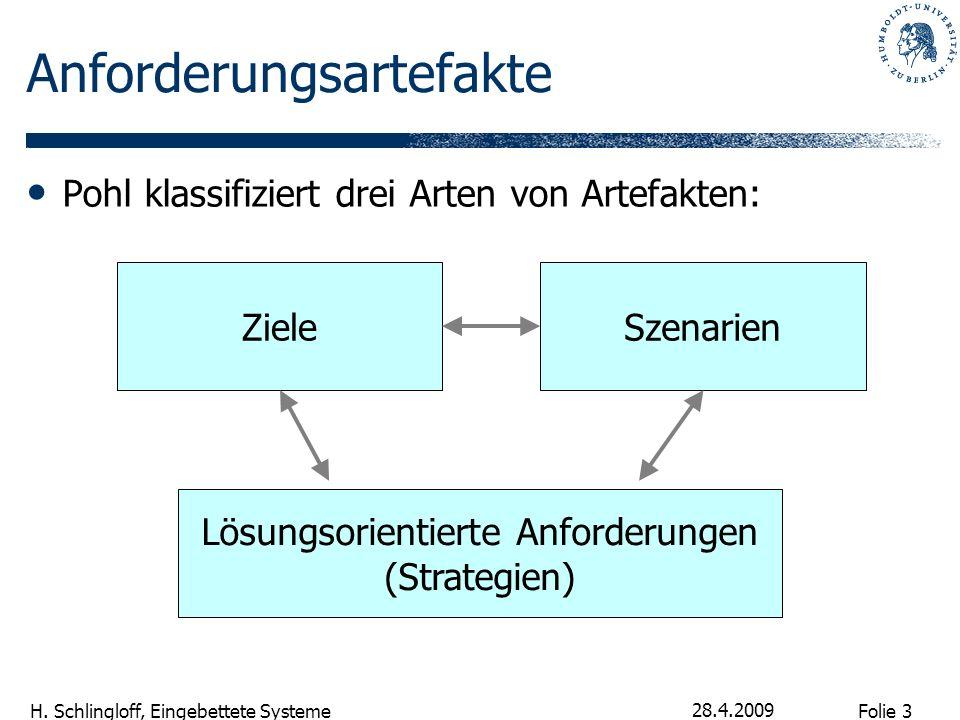 Folie 3 H. Schlingloff, Eingebettete Systeme 28.4.2009 Anforderungsartefakte Pohl klassifiziert drei Arten von Artefakten: ZieleSzenarien Lösungsorien