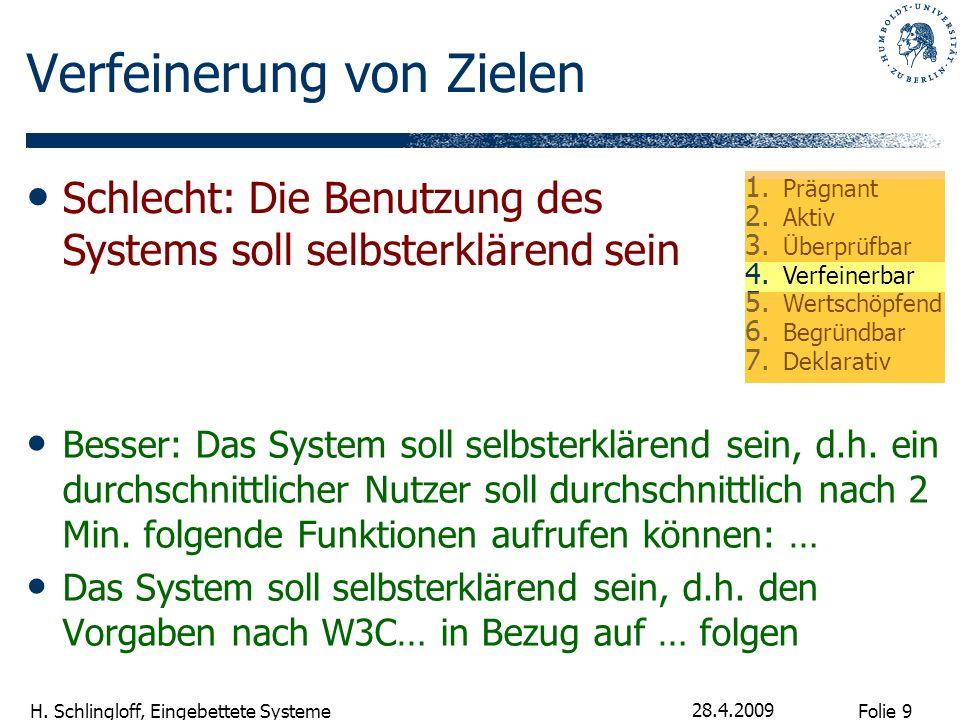 Folie 9 H. Schlingloff, Eingebettete Systeme 28.4.2009 Verfeinerung von Zielen Besser: Das System soll selbsterklärend sein, d.h. ein durchschnittlich