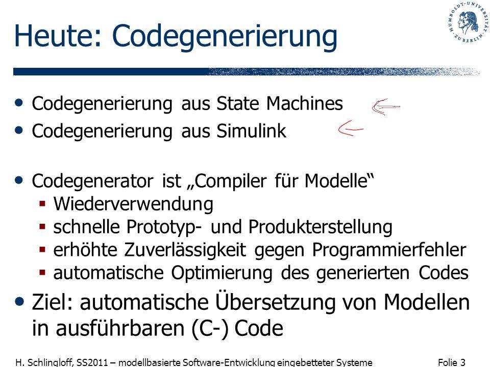 Folie 3 H. Schlingloff, SS2011 – modellbasierte Software-Entwicklung eingebetteter Systeme Heute: Codegenerierung Codegenerierung aus State Machines C