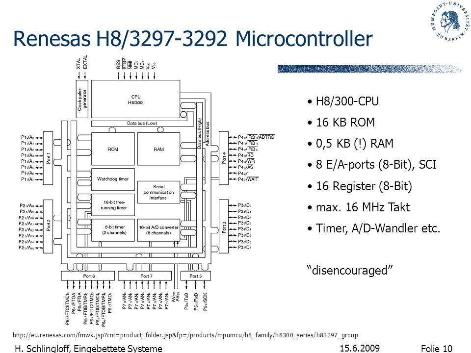 Folie 10 H. Schlingloff, Eingebettete Systeme 15.6.2009 Renesas H8/3297-3292 Microcontroller http://eu.renesas.com/fmwk.jsp?cnt=product_folder.jsp&fp=