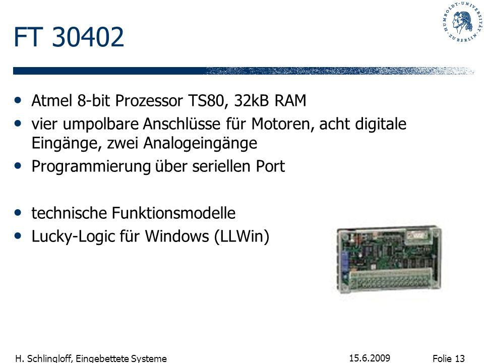 Folie 13 H. Schlingloff, Eingebettete Systeme 15.6.2009 FT 30402 Atmel 8-bit Prozessor TS80, 32kB RAM vier umpolbare Anschlüsse für Motoren, acht digi