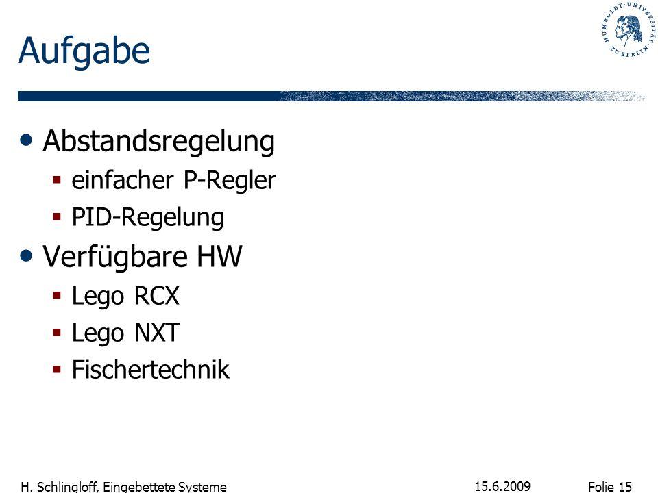 Folie 15 H. Schlingloff, Eingebettete Systeme 15.6.2009 Aufgabe Abstandsregelung einfacher P-Regler PID-Regelung Verfügbare HW Lego RCX Lego NXT Fisch