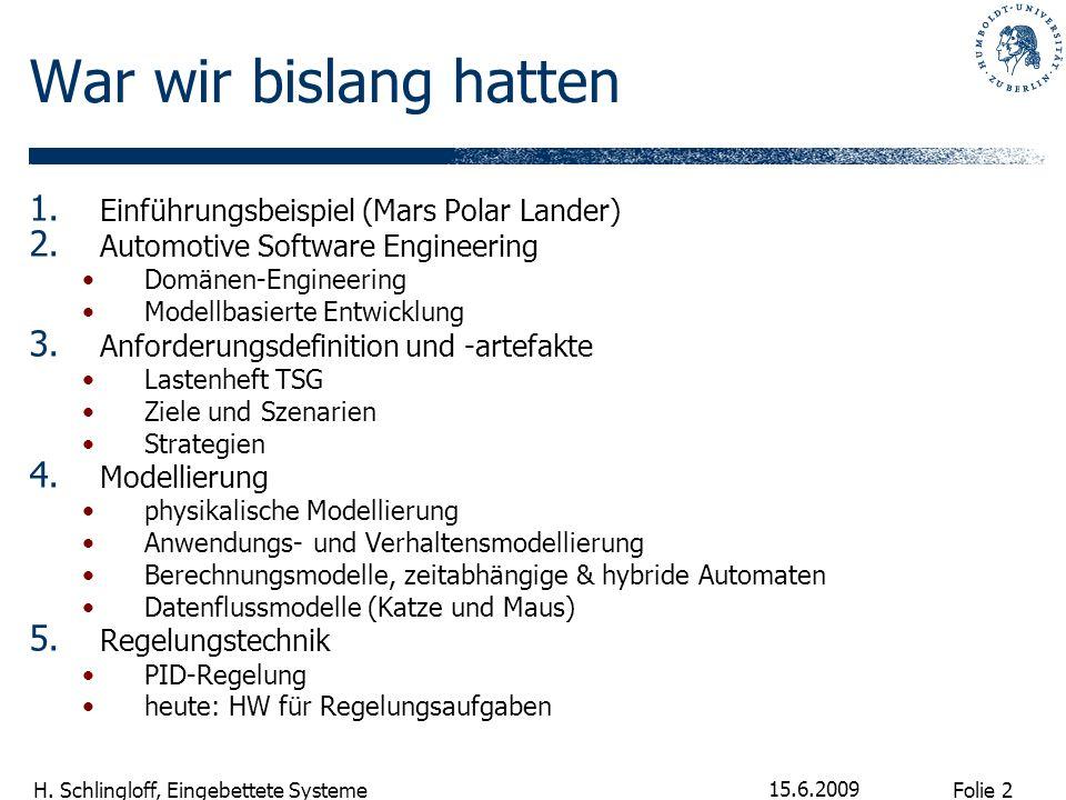 Folie 2 H. Schlingloff, Eingebettete Systeme 15.6.2009 War wir bislang hatten 1. Einführungsbeispiel (Mars Polar Lander) 2. Automotive Software Engine