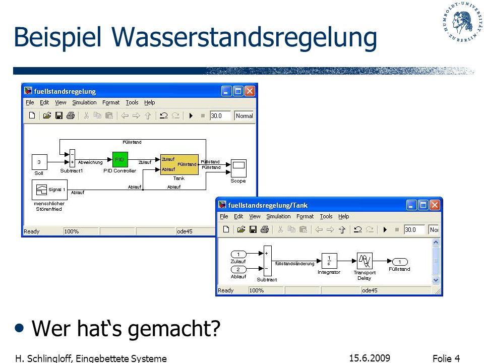 Folie 4 H. Schlingloff, Eingebettete Systeme 15.6.2009 Beispiel Wasserstandsregelung Wer hats gemacht?