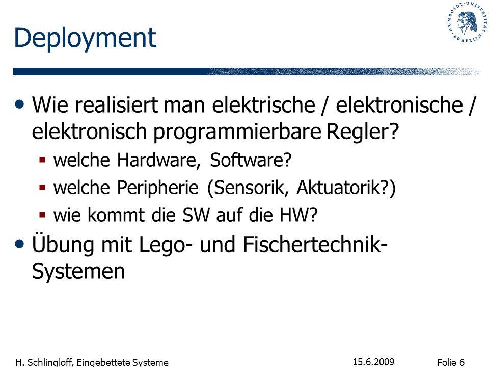 Folie 6 H. Schlingloff, Eingebettete Systeme 15.6.2009 Deployment Wie realisiert man elektrische / elektronische / elektronisch programmierbare Regler