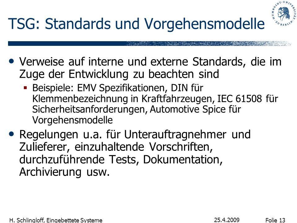 Folie 13 H. Schlingloff, Eingebettete Systeme 25.4.2009 TSG: Standards und Vorgehensmodelle Verweise auf interne und externe Standards, die im Zuge de