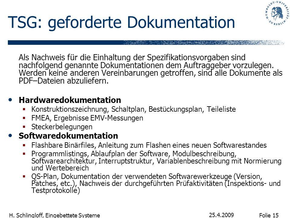 Folie 15 H. Schlingloff, Eingebettete Systeme 25.4.2009 TSG: geforderte Dokumentation Als Nachweis für die Einhaltung der Spezifikationsvorgaben sind
