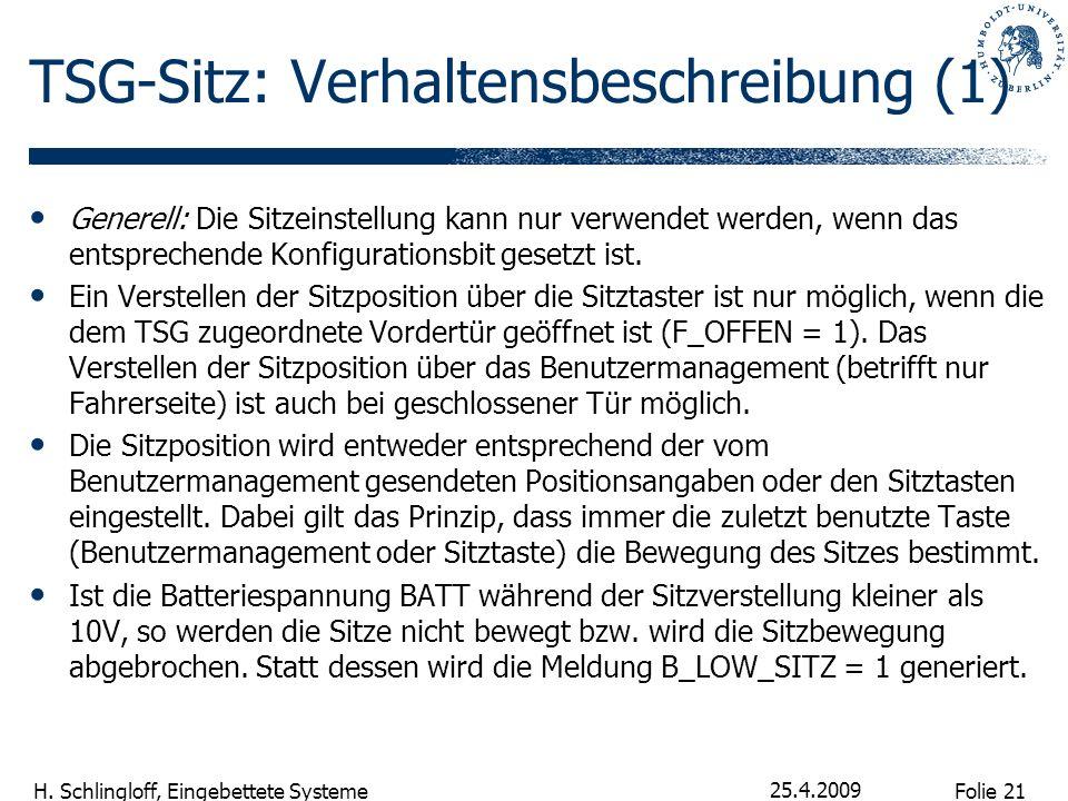 Folie 21 H. Schlingloff, Eingebettete Systeme 25.4.2009 TSG-Sitz: Verhaltensbeschreibung (1) Generell: Die Sitzeinstellung kann nur verwendet werden,