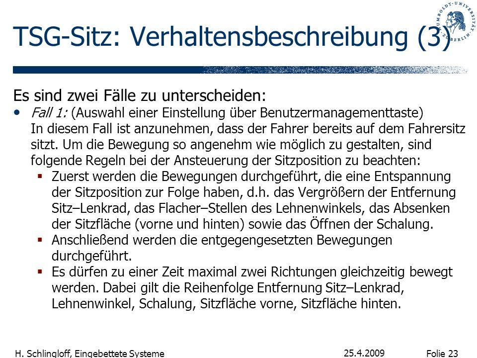 Folie 23 H. Schlingloff, Eingebettete Systeme 25.4.2009 TSG-Sitz: Verhaltensbeschreibung (3) Es sind zwei Fälle zu unterscheiden: Fall 1: (Auswahl ein