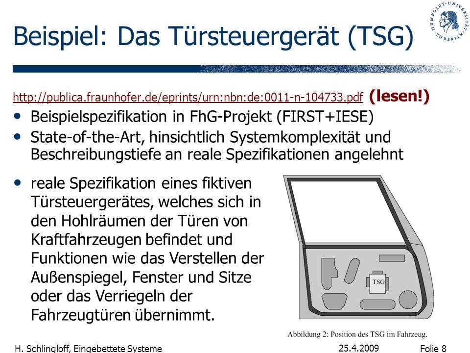 Folie 8 H. Schlingloff, Eingebettete Systeme 25.4.2009 Beispiel: Das Türsteuergerät (TSG) http://publica.fraunhofer.de/eprints/urn:nbn:de:0011-n-10473