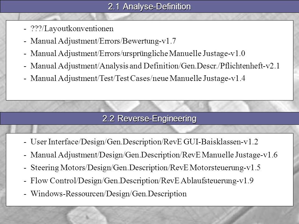 - /Layoutkonventionen - Manual Adjustment/Errors/Bewertung-v1.7 - Manual Adjustment/Errors/ursprüngliche Manuelle Justage-v1.0 - Manual Adjustment/Analysis and Definition/Gen.Descr./Pflichtenheft-v2.1 - Manual Adjustment/Test/Test Cases/neue Manuelle Justage-v1.4 2.1Analyse-Definition - User Interface/Design/Gen.Description/RevE GUI-Baisklassen-v1.2 - Manual Adjustment/Design/Gen.Description/RevE Manuelle Justage-v1.6 - Steering Motors/Design/Gen.Description/RevE Motorsteuerung-v1.5 - Flow Control/Design/Gen.Description/RevE Ablaufsteuerung-v1.9 - Windows-Ressourcen/Design/Gen.Description 2.2Reverse-Engineering