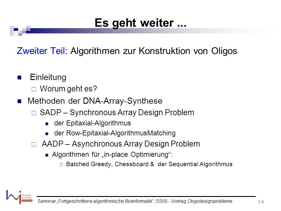 Seminar Fortgeschrittene algorithmische Bioinformatik, SS05 - Vortrag Oligodesignprobleme 14 Es geht weiter... Zweiter Teil: Algorithmen zur Konstrukt