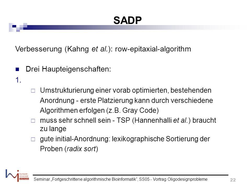 Seminar Fortgeschrittene algorithmische Bioinformatik, SS05 - Vortrag Oligodesignprobleme 22 SADP Verbesserung (Kahng et al.): row-epitaxial-algorithm