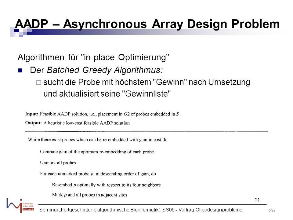 Seminar Fortgeschrittene algorithmische Bioinformatik, SS05 - Vortrag Oligodesignprobleme 25 AADP – Asynchronous Array Design Problem Algorithmen für