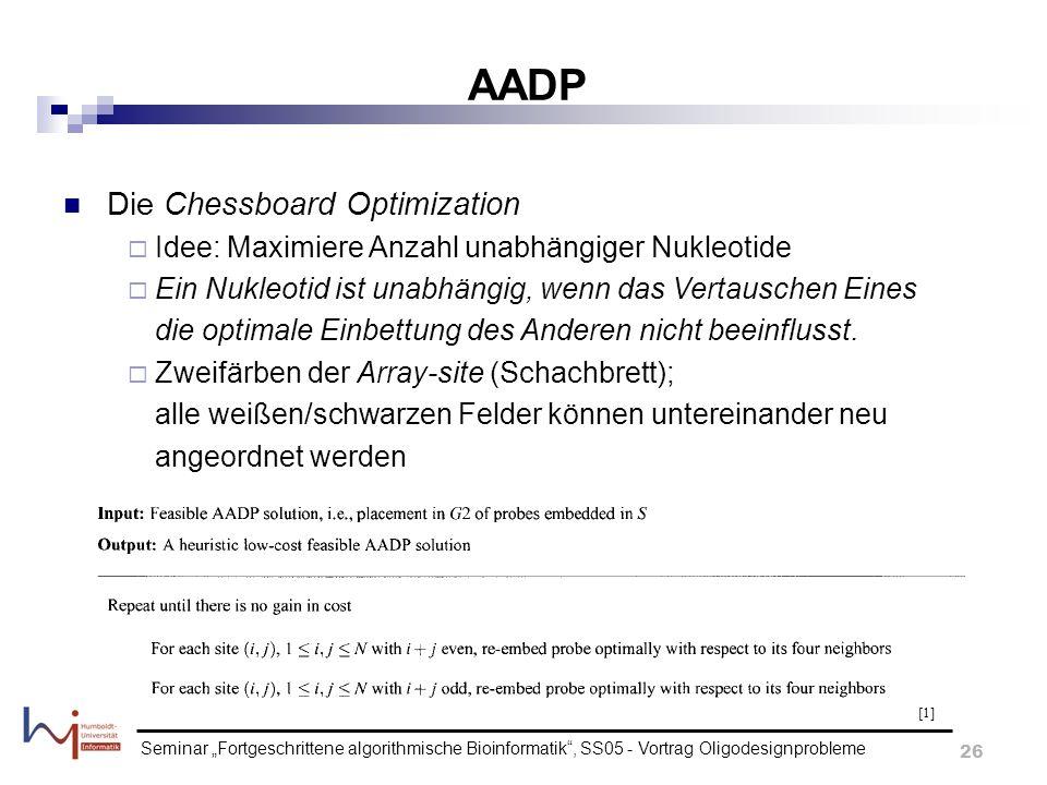Seminar Fortgeschrittene algorithmische Bioinformatik, SS05 - Vortrag Oligodesignprobleme 26 AADP Die Chessboard Optimization Idee: Maximiere Anzahl u