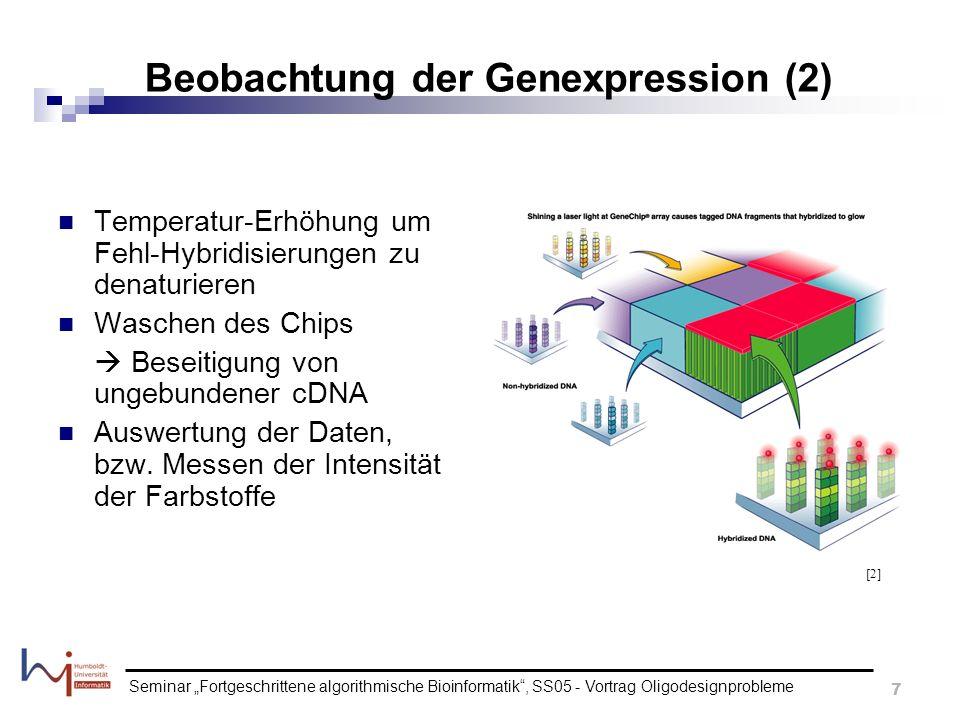 Seminar Fortgeschrittene algorithmische Bioinformatik, SS05 - Vortrag Oligodesignprobleme 7 Beobachtung der Genexpression (2) Temperatur-Erhöhung um F