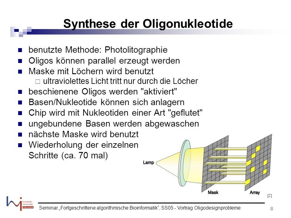 Seminar Fortgeschrittene algorithmische Bioinformatik, SS05 - Vortrag Oligodesignprobleme 9 Merkmale der Oligo-Chips (1) Oligos werden nur durch bekannte Sequenz-Informationen produziert jedes Oligo wird mit einem Mismatch-Oligo gepaart, unterscheiden sich nur im Zentrum (durch eine Base) typischerweise werden 20 Paare von Oligonukleotiden zur Erkennung eines Gens verwendet (ein Spot) Fehl-Hybridisierungen können erkannt werden Oligos, die weniger (oder gleich) hybridisieren als Mismatch- Oligos, implizieren geringe Spezifität