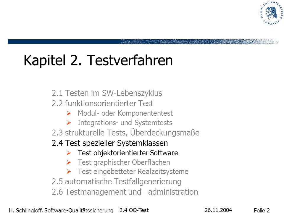 Folie 2 H. Schlingloff, Software-Qualitätssicherung 26.11.2004 2.4 OO-Test Kapitel 2. Testverfahren 2.1 Testen im SW-Lebenszyklus 2.2 funktionsorienti