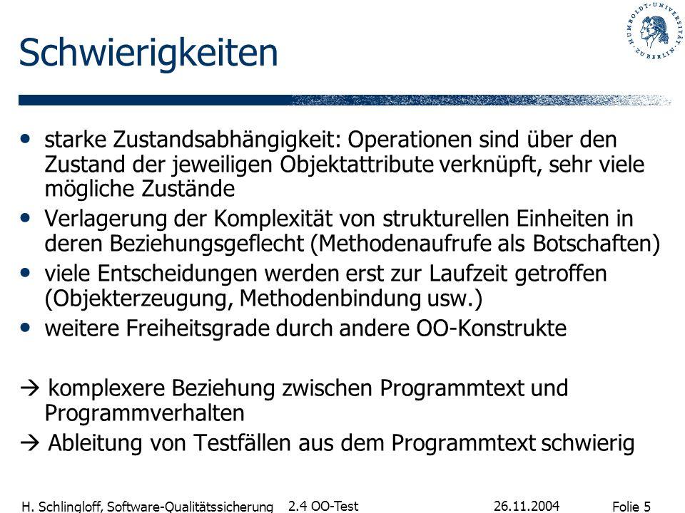 Folie 5 H. Schlingloff, Software-Qualitätssicherung 26.11.2004 2.4 OO-Test Schwierigkeiten starke Zustandsabhängigkeit: Operationen sind über den Zust