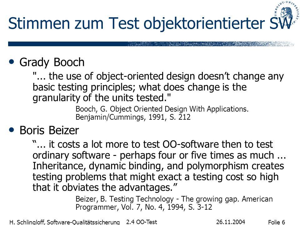 Folie 6 H. Schlingloff, Software-Qualitätssicherung 26.11.2004 2.4 OO-Test Stimmen zum Test objektorientierter SW Grady Booch